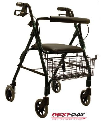 Deluxe Aluminum 4 Wheel Rollator with Padded Seat